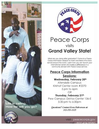 GVSU Feb Peace Corps flyer