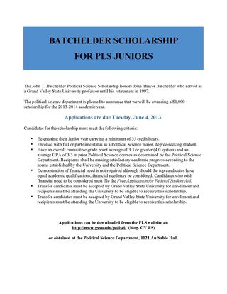 Batchelder Scholarship for PLS Juniors