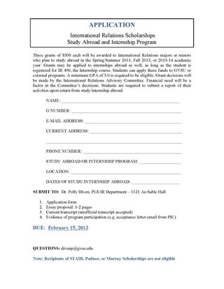 Application for International Relations Scholarships 2013