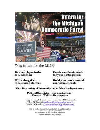 Michigan Dems Internship flyer 2 b