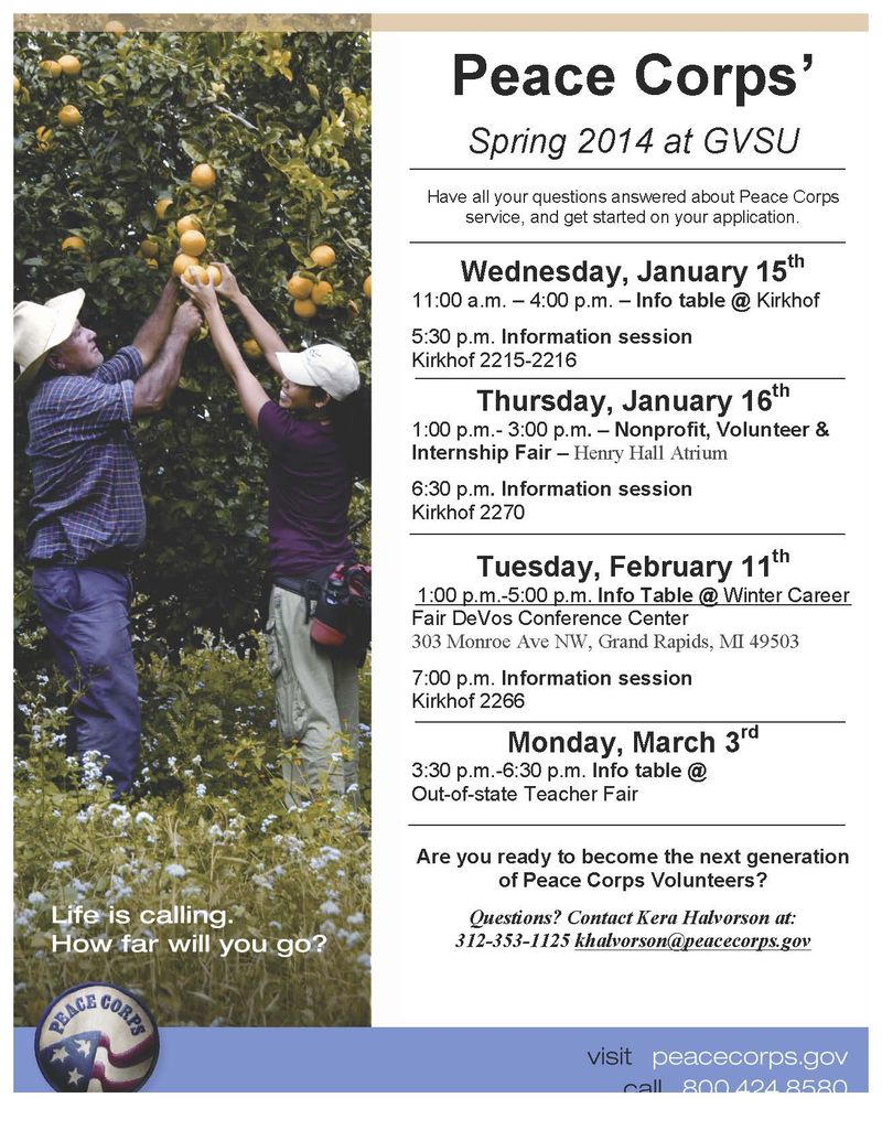 Peace Corps Events Flyer Winter Semester 2014