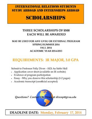 IR STUDY ABROAD SCHOLARSHIPS 2014 2